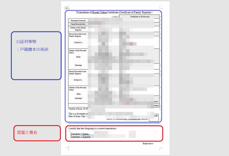 公証を受ける文書の記載例