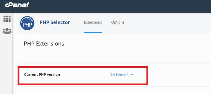 mixhostPHPバージョン確認画面(変更前)